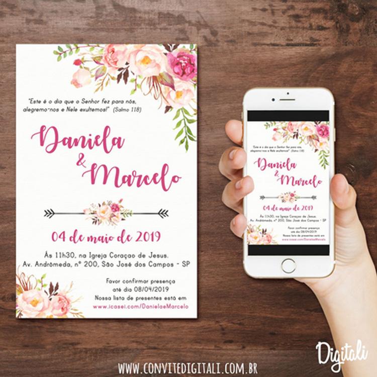 Casamento sustentável: Convite Digitali - Cheers